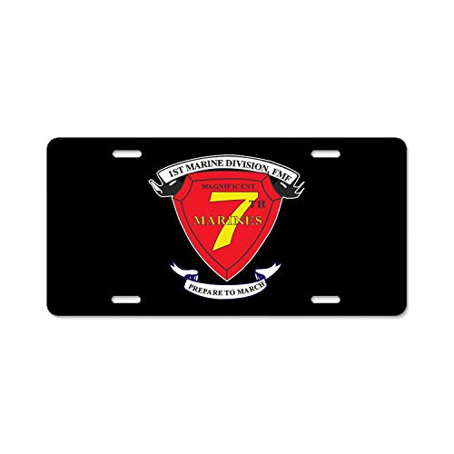 (1st Marine Division 7th Marine Regiment AKA RCT-7 Unique Auto License Plate Frame Tag Standard Size Car Decor Aluminum License Plate, Front License Plate Tag)