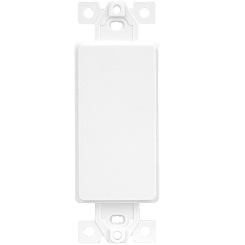 Enerlites 6001-W Blank Decorator Wall Plate Insert, 1 Gang Blank Rocker Outlet Adapter Insert, White