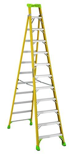 (Louisville Ladder 12 ft FXS1412HD 2-in-1 Duty Rating Shelf Fiberglass Cross Step Ladder 375 lb Type IAA 12')