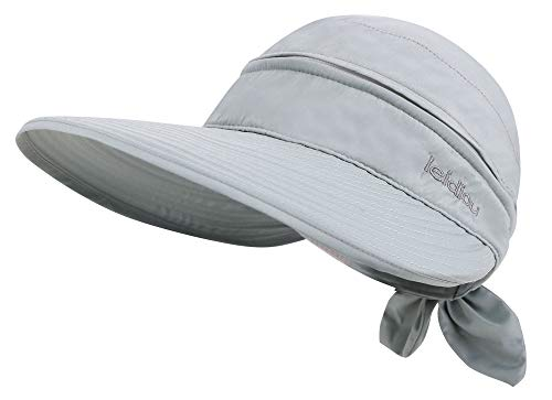 Simplicity Women's UPF 50+ UV Sun Protective Convertible Beach Hat Visor Grey