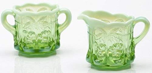Northwood Green Carnival Glass - Creamer & Sugar - Cherry & Cable Pattern Mosser Glass US (Green Opalescent)