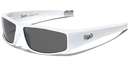 ef074bf8f73519 LOCS Original Gangster Shades Mens Flat Top Rectangular Sunglasses - White