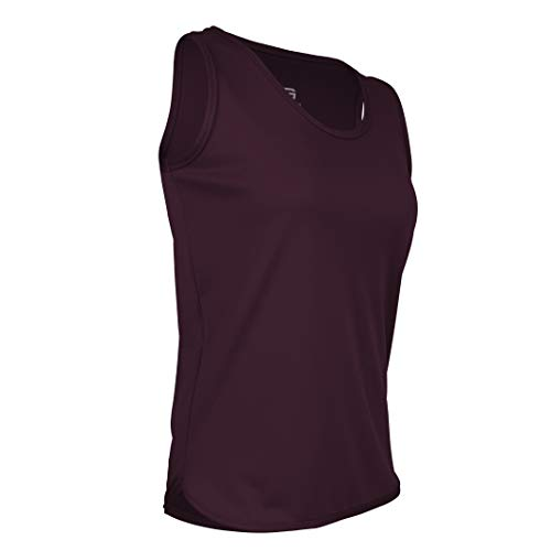 Game Gear PT-903W-CB Women's Cut Light Weight Track Singlet-Moisture and Odor Control (X-Large, Maroon)