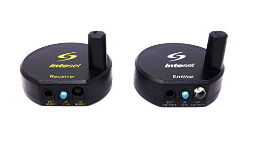 Inteset Wireless IR Repeater, Extender & Blaster Sends Infrared Using Long Range Radio Frequency (RF) for Cable & Satallite Boxes as Well as Most Other A/V Devices
