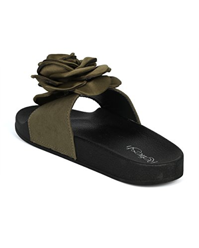 Alrisco Women Mixed Media Open Toe Diapositiva 3d Rose Footbed - Hg32 Di Refresh Collection Khaki Mix Media