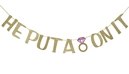 He Put A Ring On It Banner Gold Glitter for Bridal Shower Engagement Wedding Bachelorette Party Decor Photo Booth Props ()