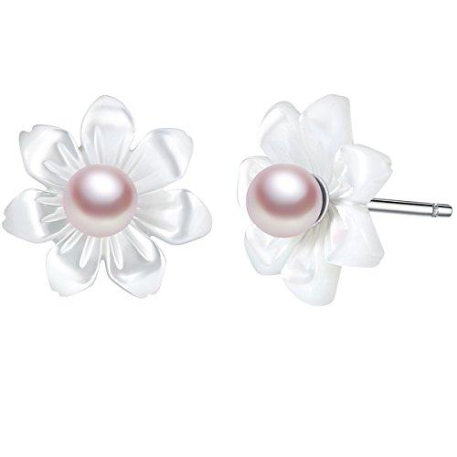 Novelty Shell Flower Sterling Silver Stud Earrings [7 Petals]