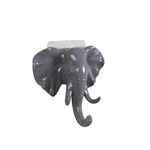Miklan Hooks Of Elephant Head Self Adhesive Wall Door Hanger Bag Keys Sticky Holder (gray)