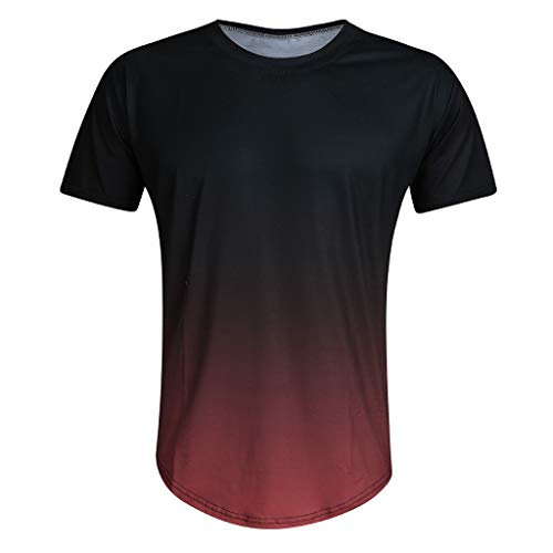 Mens Fashion Summer Slim Fitness T-Shirt Casual Gradient