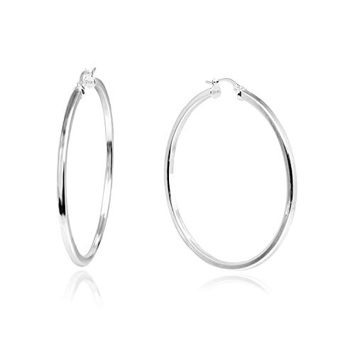 Sea of Ice Sterling Silver Polished Finish 2mm Square-Tube Hoop Earrings for Women (45mm - 1 4/5