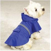 Dog Rain Coat - Blue w/Reflective Stripe - X-Large (XL)