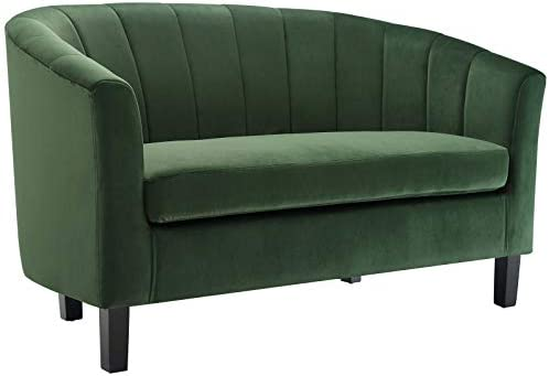 Modway Prospect Channel Tufted Upholstered Velvet Loveseat, Emerald