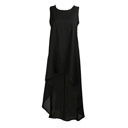 QHGstore Damas de color sólido sin mangas vestido de cuello redondo flojo irregular hem mujeres vestido de playa negro