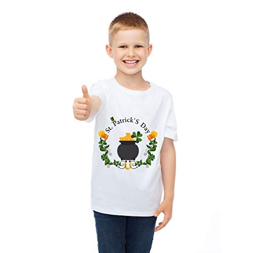 Boys T-Shirts,Clover Print Kids Wild Tops,St. Patrick's Day Memorial Clothing Boy Tee 2~6 Years Old(B,130) by Wesracia (Image #6)