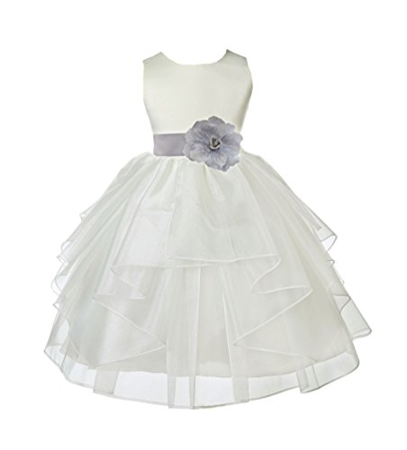 Ivory Satin Shimmering Organza Junior Flower Girl Dresses Bridal Dress 4613S 6 ()