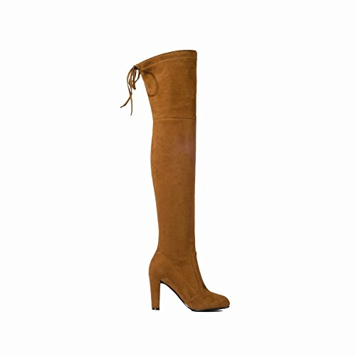 Mee Shoes Damen high heels runde langschaft Nubukleder Stiefel Gelbbraun