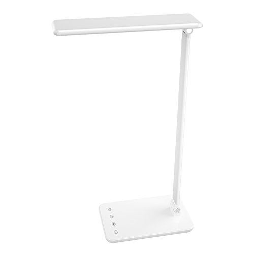 MoKo Dimmable LED Desk Lamp, 8W Touch-Sensitive Control Eye-Caring Working/Reading Table Lamp, Continuously Dimmable Brightness & Color Temperature, 1-Hour Auto Timer, Adjustable Arm & Head - WHITE