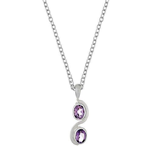 (Silverly Women's .925 Sterling Silver Amethyst Oval Gemstone Pendant Necklace, 46 cm)
