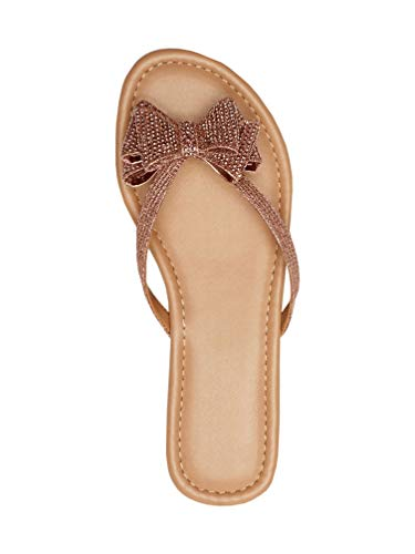 Coutgo Womens Slip On Glitter Flip Flops Bow Tie Flat Thong Summer Beach Sandals Rose Gold]()