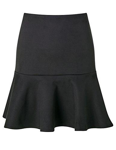 Lipsy Mujer Falda De Ante Bajo De Volante Corte Regular Negro