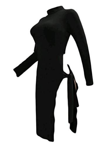 Solido Spacco Sexy Lo Pattern5 Abito Randello Coolred Manicotto donne Lato Alto Del Con Cintura Del Lungo qRcUPFEw