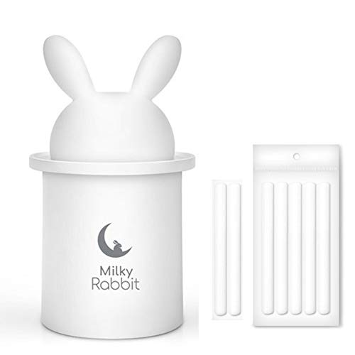 Milky Rabbit Portable Mini USB Humidifier, 280ML, 9Hours, 2Color-Changing, Continuous/Interval Mode, Auto Shut-Off, Included USB Adaptor & 7 Filters for Home/Office/Travel/Car (White w/ 7 Filters)