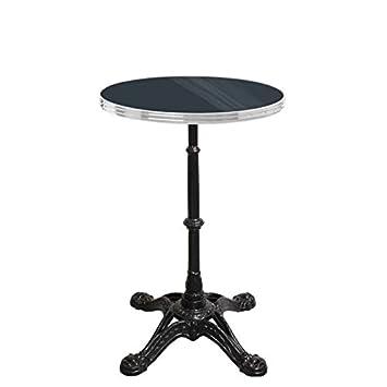 table bistrot ronde noir avec cerclage en inox - pied 4 branches ...
