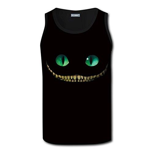 Cheshire Cat Costume Ideas (Green Eyes Black cat Men's Tank top Everyday Crew Neck Short-Sleeve Girl Tank T-shirt L)