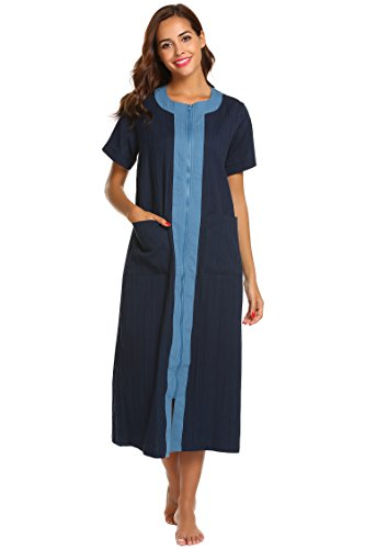 Cotton Solid Pockets Zipper - Ekouaer Loungewear Womens Short Sleeve Zipper Robe,Cotton Round Neck Nightwear,Navy Blue,X-Large