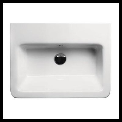 GSI GSI MCITY8211-No Hole-637509847517 Designer and Wall Mounted Ceramic Washbasin, White (Washbasin Mounted Wall)