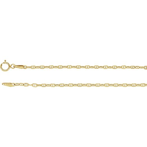 14k Yellow Gold Hollow Marine Link Chain Necklace 16 (Marine Links 14k Gold Chain)