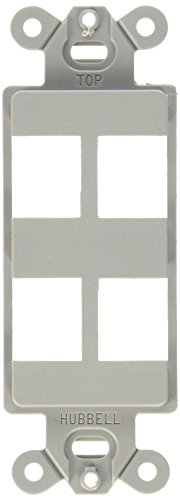 (Hubbell ISF4GY iSTATION Decorator Frame Wall Plate, 4 Port, Gray)
