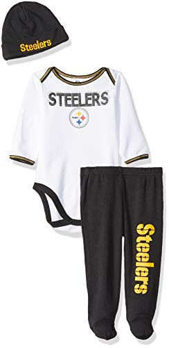 NFL Pittsburgh Steelers Unisex-Baby Bodysuit, Pant, Cap Set, Black, 3-6 Months