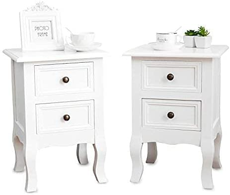 Set of 2 Nightstand Small&Super Cute - Paulownia Wood - Fully Assembled - End Tables Bedside Tables - with 2 Drawers Storage,White