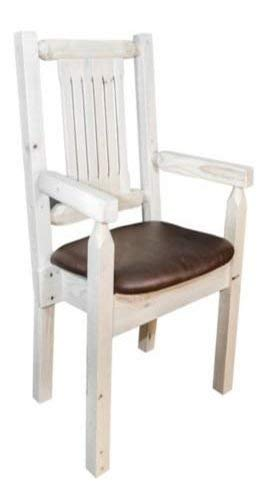 (Montana Woodworks MWHCCASCNVSADD Homestead Collection Captain's Chair, Clear Lacquer Finish with Upholstered Seat, Saddle Pattern)