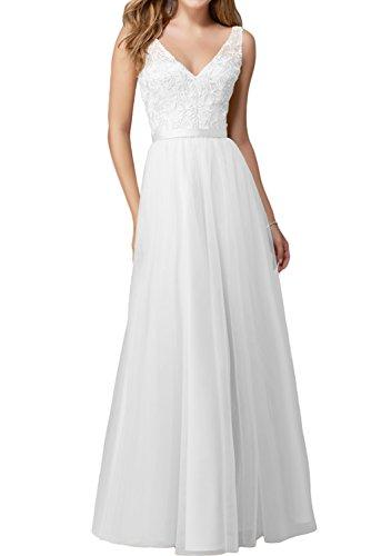 Spitze La Weiss V Braut Lang Promkleider A Ballkleider Abendkleider Ausschnitt Weiß Marie Linie Partykleider Cwq1UqX
