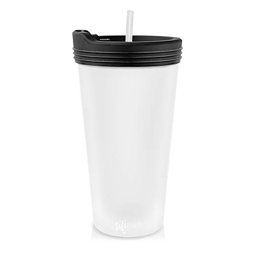 Silipint The Original Silicone Cups - 22oz Bomber Glass With Lid and Straw, Patented, Shatter-proof Silicone Cup Drinkware (Frosted White cup, Bouncy Black Lid, Frosted White Straw)