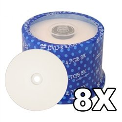 Prodisc 8X DVD-R White Inkjet Hub Printable 500 Pack in Cakebox by SpinX