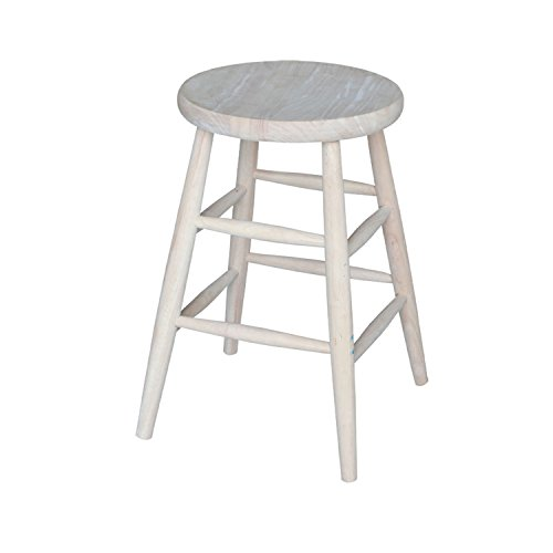 International Concepts 1S-824 24-Inch Scooped Seat Stool, Unfinished