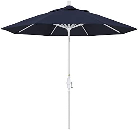 California Umbrella 9 Round Aluminum Market Umbrella, Crank Lift, Collar Tilt, White Pole, Sunbrella Navy