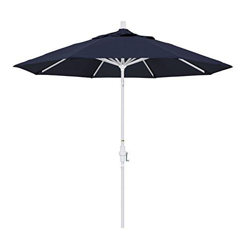 California Umbrella 9' Round Aluminum Market Umbrella, Crank Lift, Collar Tilt, White Pole, Sunbrella Navy ()