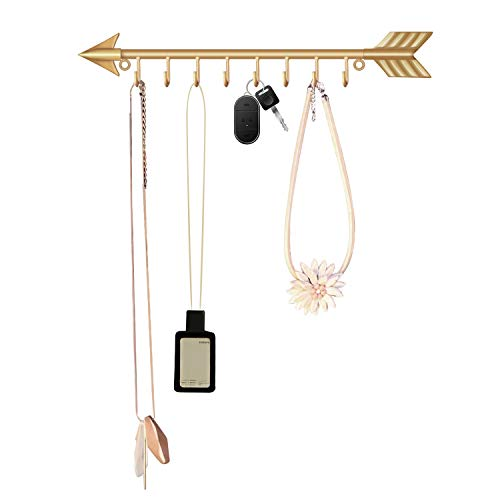 Wall Mounted Key Rack Key Holder Metal Key Hanger 7 Hook Necklace Holder Necklace Organizer Hanging Rack Entryway Storage Organizer Arrow Designed (Gold)