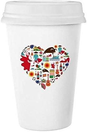 España español corazón corrida de toros Flamenco Guitarra Ventilador Nacional Bandera Classic blanco cerámica de cerámica taza de leche taza de café taza 350 ml: Amazon.es: Hogar