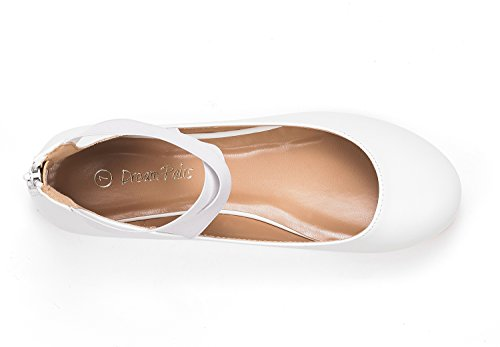 Pu Straps Fashion DREAM Stretchy Shoes White Womens Flats PAIRS Sole Ankle Elastic 7axqPHpxw