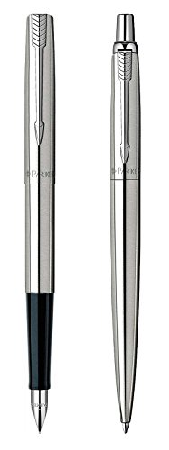 Parker Jotter Fountain Pen and Ballpoint Set, Brushed Stainless -
