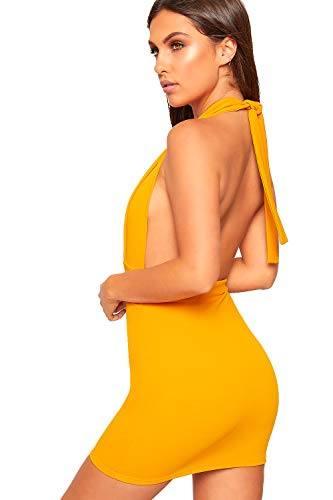 Front Button Open 12 Women's Dress Mini Halter Mustard Back Ladies Party Neck Stretch WearAll 6 New fSYwX