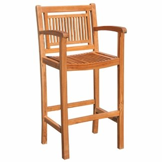 (Teak Maldives Outdoor Patio Barstool with Arms Made from Solid A-Grade Teak Wood)
