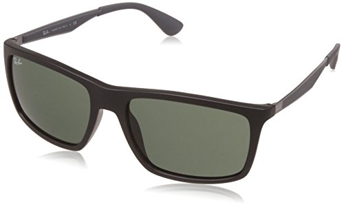 Ray-Ban Injected Man Sunglasses - Matte Black Frame Green Lenses 58mm - Black Matte Ray Ban