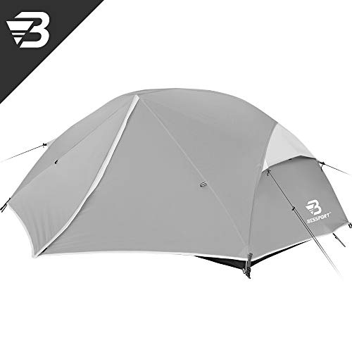 Bessport Backpacking Tents 2 Person, Easy & Quick Setup Lightweight Camping Tent - Waterproof, Two Doors for 3-4 Season Families, Expeditions, Outdoor, Hiking (Grey)