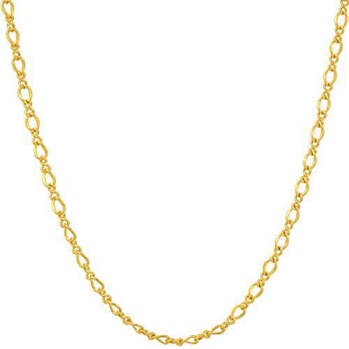 Lifetime Jewelry Gold Necklace for Women & Men [ 2.6mm Diamond Cut Italian Figaro Chain ] 20X More 24k Plating Than Other Pendant Necklaces - Very Durable - Lifetime Replacement Guarantee (30) ()